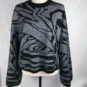 H&M Wide Sleeve Heavy Knit Sweater Black/Silver LG